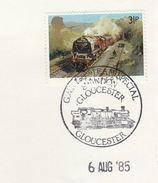 1985 GB Stamps  COVER EVENT Pmk SWINDON GLOUCESTER  RAILWAY STEAM TRAIN  Anniv - Trains