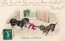 "Illustrateur.. ""Bonne Année"".. Belle Illustration Chiens Chienne Chiots - Künstlerkarten"