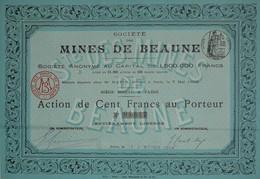 Société Des Mines De Beaune (Haute-Vienne), Action De 100 Francs Au Porteur - Mines