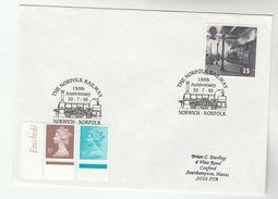 1995 GB Stamps COVER EVENT Pmk NORWICH NORFOLK  RAILWAY Anniv Steam Train - Trains