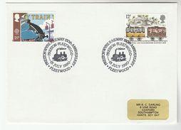 1990 GB Stamps COVER EVENT Pmk  PRESTON FLEETWOOD RAILWAY Anniv Steam Train - Trains