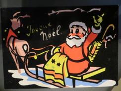 Carte Velours - Joyeux Noël - Rennes Traîneau Jouet - Cpsm Grand Format - Ecrite Ed Carrere Perpignan - Weihnachten