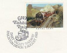 1985 GB Stamps COVER EVENT Pmk DART VALLEY RAILWAY PAIGNTON Steam Train - Trains