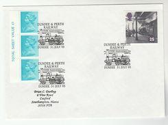 1995 GB Stamps COVER EVENT Pmk  DUNDEE PERTH RAILWAY Anniv Steam Train - Trains