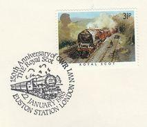1985 GB Stamps COVER EVENT Pmk EUSTON RAILWAY STATION The ROYAL SCOT TRAIN STEAM Anniv - Trains