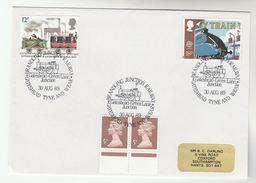 1989 GB Stamps EVENT COVER Pmk  BRANDLING JUNCTION  RAILWAY GATESHEAD Anniv Steam  Train - Trains
