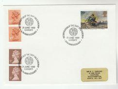 1990 GB Stamps EVENT COVER Pmk  CARDIFF GWR TAFF RAILWAY Anniv Steam Train - Trains
