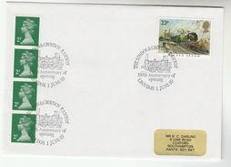 1989 CROYDON LONDON  RAILWAY ANNIV Event COVER Steam Train Stamps GB - Trains