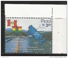 RE) 2002 PERU, MAP, FLAGS,  PRESIDENTIAL MEETING,  PERU - BOLIVIA INTEGRATION FOR DEVELOPMENT,  SC 1350 A635, S/S - Peru