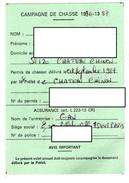 CAMPAGNE DE CHASSE 1996-1997 Permis De Chasser  CHATEAU-CHINON  Nievre  *1 Timbre Fiscal  *2 Timbres Chasse - Vecchi Documenti