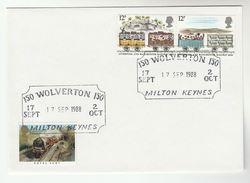 1988 WOLVERTON RAILWAY Anniv COVER Milton Keynes Steam  Train Gb Event - Trains