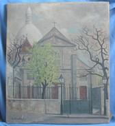 Huile Sur Toile De La Butte Montmartre & L'Église Saint-Pierre /  Par Le Chevalier 1942 - Oils