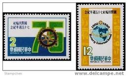 Taiwan 1980 75th Anni. Rotary Internat. Stamps Map Globe Ambulance Fire Engine Clock Red Cross - 1945-... Republic Of China