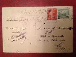 Affranchissement Mixte France Tunisie, Constantine Pour Lyon - Marcophilie (Lettres)