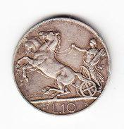 ITALIE KM 68.2, 10 L 1927R, SILVER , XX FERT XX. (PD27) - 1861-1946 : Royaume
