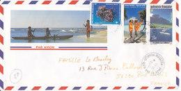 Polynésie Française, Lettre De 1991,UTUROA- RAIATEA ,ILES SOUS LE VENT, N°377+365+390 ( Poly17/023) - Storia Postale