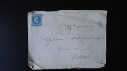 France - Enveloppe - GC 1962 Sur 20c Bleu Napoléon III Lauré - Année 1868 - 1849-1876: Classic Period