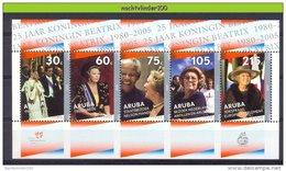 Nbr0339 KONINGSHUIS KONINGIN BEATRIX JUBILEE ROYAL VISIT NELSON MANDELA ROYALTY ARUBA 2005 PF/MNH - Royalties, Royals