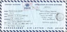Cote D'Ivoire 2005 Abidjan 18 ONUCI UN Peacekeeping Blue Helmet Military Free Mail Cover To Bangladesh - Ivoorkust (1960-...)