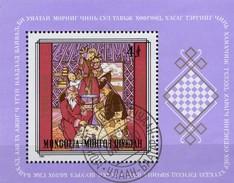 Schachspiel 1981 Mongolei Block 75 O 5€ Schach Im Mittelalter Hojas History Chess Ss Bloc M/s Art Sheet Bf Mongolia - Chess
