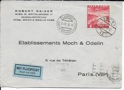 AUTRICHE - 1936 - POSTE AERIENNE 1 Sch. SEUL Sur LETTRE De WIEN FLUGPOST => PARIS - Storia Postale