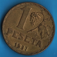 ESPANA 1 PESETA 1937 LA BLONDE  KM# 755 - [ 2] 1931-1939 : Repubblica
