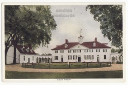 MT VERNON MANSION VA, WEST FRONT VIEW -1920 Vintage Postcard, Virginia Historic Site - History