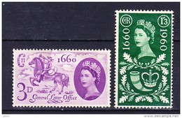 GRANDE BRETAGNE 1960 YT N° 355 Et 356 * - 1952-.... (Elizabeth II)