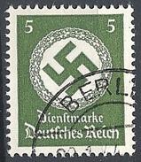 Germania - 1942 Croce Uncinata 5p Verde Scuro Senza F. # Michel 168 - Scott O94 - Unificato Tx129 - Usato - Dienstzegels