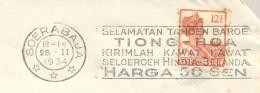 Nederlands Indië - 1934 - Machinestempel Soerabaja - Selamatan Tahoen Baroe Tiong - Hoa... Op Brief Naar Den Haag