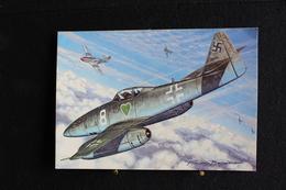 """P/46/ Avion - Les Chasseurs De La Seconde Guerre Mondiale """"Messerschmitt Me 262 (Allemagne)"""" Dessin De Francis Bergèse - 1939-1945: 2ème Guerre"""