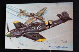"""P/47/ Avion - Les Chasseurs De La Seconde Guerre Mondiale """"Messerschmitt Bf 109 (Allemagne)"""" Dessin De Francis Bergèse - 1939-1945: 2ème Guerre"""