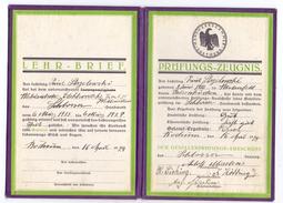 LEHR-BRIEF & PRÜFUNGS-ZEUGNIS, Schlosser, 1929, Bochum - Diplomi E Pagelle