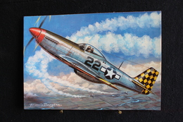 """P/50/Avion-Les Chasseurs De La Seconde Guerre Mondiale,""""North American P. 51 Mustang (U.S.A) """" Dessin De Francis Bergèse - 1939-1945: 2ème Guerre"""