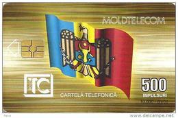 MOLDOVA 500 UNITS FLAG FRONT BUILDING BACK CHIP  EXP.01-00 USED  READ DESCRIPTION !!!