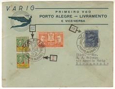 17348 Envelope Circulado Via Varig Porto Alegre Livramento 1932 - Poste Aérienne (Compagnies Privées)