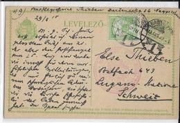 HONGRIE - 1915 - CP ENTIER De NAGYSZEBEN (SIBIU) Actuellement En ROUMANIE => LUGANO (SUISSE) Avec CENSURE FELDKIRCH - Marcophilie