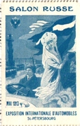 1 POSTER STAMP Cinderella  RUSSIA  Salon Russe Mai 1913 Automobiles St PETERSBOURG - Factures & Documents Commerciaux
