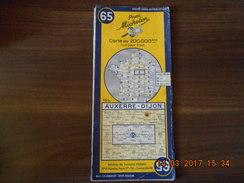 Carte Routière MICHELIN N: 65  AUXERRE DIJON  édition 1955 - Carte Stradali