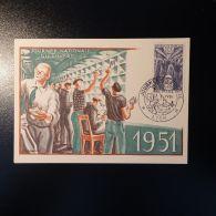 JOURNÉE DU TIMBRE 1951 N°879 SUR CARTE MAXIMUM OB. PREMIER JOUR LYON NON COTÉ - Frankrijk