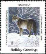 Etats Unis, USA. Gray Wolf, Loup. Timbre / Vignette (3 X 3,5 Cm) National Wildlife Fed. - Chiens