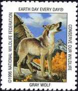 USA. Gray Wolf, Loup. Timbre / Vignette (3 X 3,5 Cm) National Wildlife Fed. - Chiens