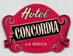 """D5627 """" HOTEL CONCORDIA - LA SPEZIA - ITALIA"""" ETICHETTA ORIGINALE - ORIGINAL LABEL - Adesivi Di Alberghi"""