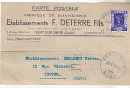 10 Mery Sur Seine- Carte Des Ets FDeterre Fils, Bonneterie,  Datée De 1936 Pour Troyes. Complete Tb état. - Textile & Vestimentaire