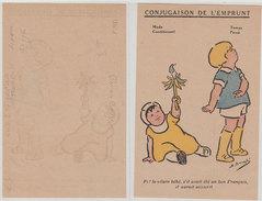 Ww1 Propagande Tract Bébé Et  Hochet Dessin D'enfants Conjugaison De L'Emprunt Par Illustrateur  Simone Bouglé 9x14 Cm - Documents