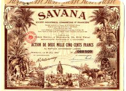 TITRE ACTION -  SAVANA  SOCIETE INDUSTRIELLE COMMERCIALE ET FINANCIERE (26 COUPONS) - Banque & Assurance