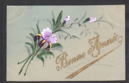CPA FANTAISIE CELLULOID CELLULOIDE IRIS POURPRE DORURE OR Peinte à La Main Jolies Fleurs Bonne Année -#462 - Nouvel An