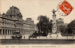CPA 75 PARIS Place Du Carrousel Pavillon Richelieu Et Statue De Gambetta - Places, Squares