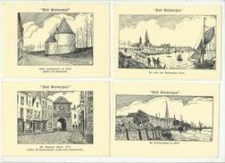 -**OUD  ANTWERPEN** -Reeks Van 6 Kaarten(litho's)-illustrateur: S W - Antwerpen