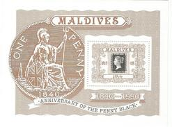 1990 Maldives Penny Black Stamps On Stamps Complete Set Of 2 + Souvenir Sheet MNH - Maldive (1965-...)